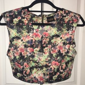 Floral/lace print crop top with detail back zip